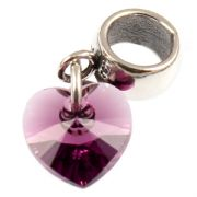 Amethyst Crystal Heart Dangle Charm For European Style Charm Bracelets Made With Swarovski Elements